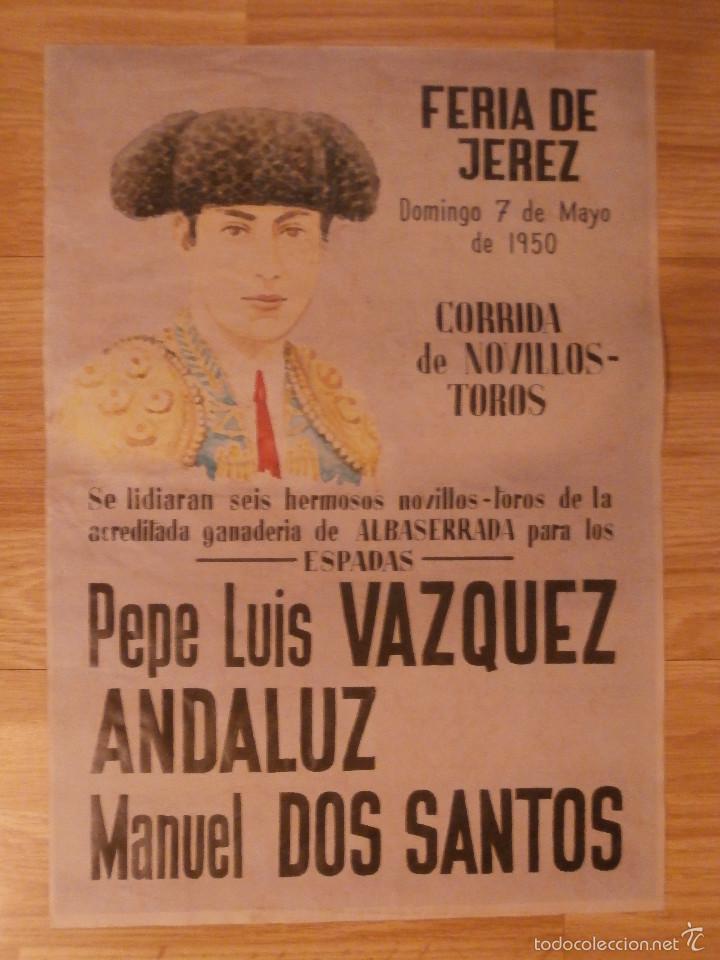 CARTEL TOROS - FERIA DE JEREZ - 1950 - 42 CM X 29,5 CM..- RECREACIÓN - (Coleccionismo - Carteles Gran Formato - Carteles Toros)