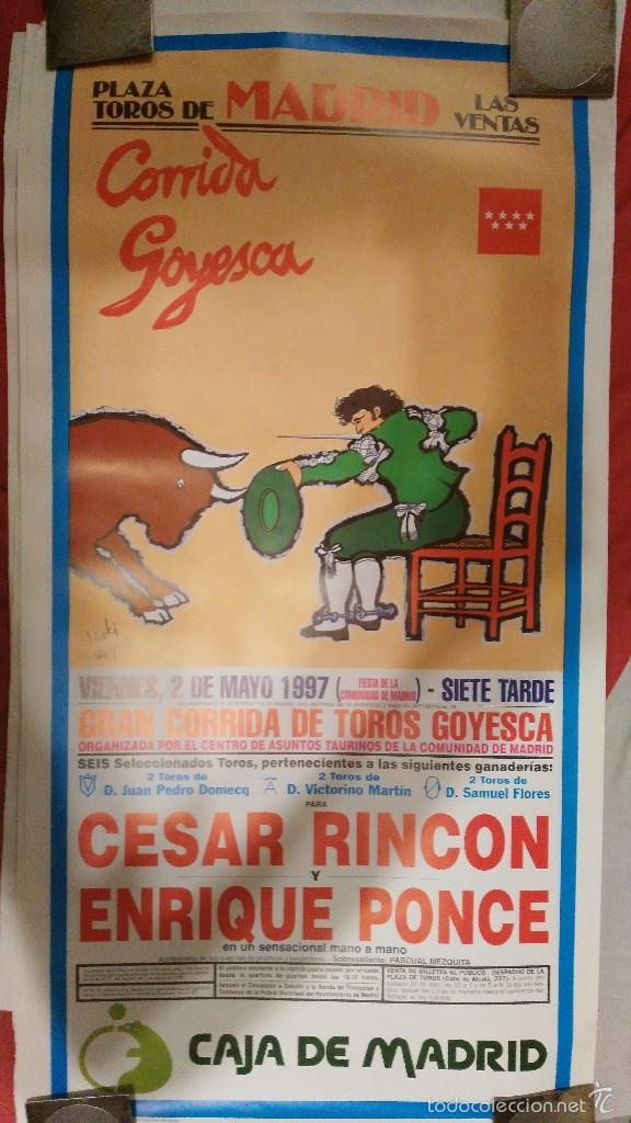 CARTEL Y FOLLETO DE MANO DE LA GOYESCA DE 1997 CESAR RINCÓN ENRIQUE PONCE (Coleccionismo - Carteles Gran Formato - Carteles Toros)