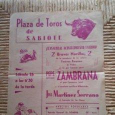 Carteles Toros: CARTEL PLAZA DE TOROS DE SABIOTE – JAEN – 1967 – TIPOGRAFIA NACIONAL – UBEDA. Lote 58713000