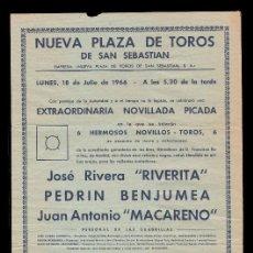 Carteles Toros: *** CARTEL NUEVA PLAZA DE TOROS DE SAN SEBASTIÁN, 18 JULIO 1966. RIVERITA-BENJUMEA-MACARENO ***. Lote 58876161