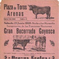 Affiches Tauromachie: CARTEL DE TOROS ( BANDERILLA ) PLAZA DE TOROS ARENAS ( BNC ) JUNIO DE 1935 . Lote 59200610