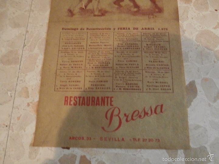 Carteles Toros: CARTEL DE TOROS PLAZA DE SEVILLA, 1975 - Foto 2 - 59465540