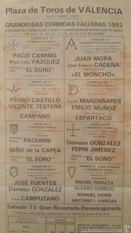 Carteles Toros: Grandiosa Corrida Toros Valencia 1982. - Foto 3 - 59655057