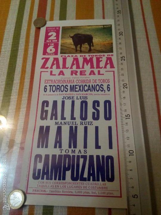 CARTEL DE TOROS DE 30 X 14.CENTÍMETROS PLAZA DE ZALAMEA LA REAL DE HUELVA ABRIL DE 1988 (Coleccionismo - Carteles Gran Formato - Carteles Toros)