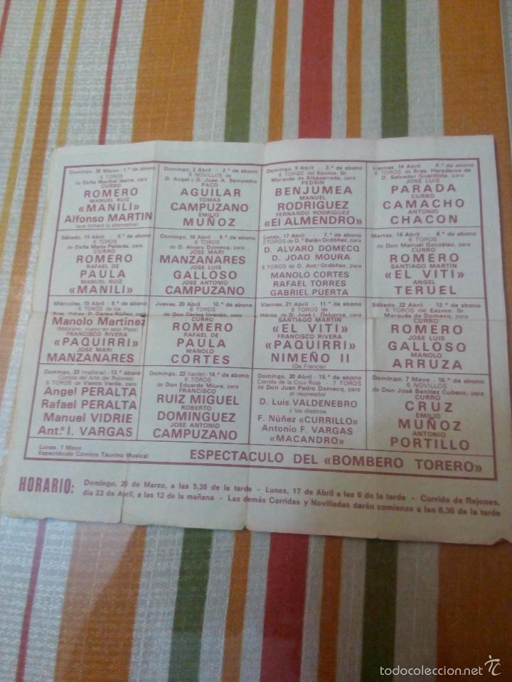 Carteles Toros: Catel de manos feria de abril 1978 domingo de resurreccion - Foto 4 - 59674903