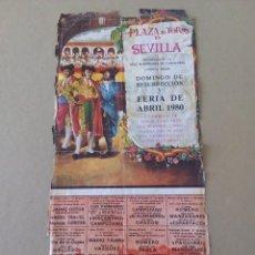 Carteles Toros: CARTEL DE LA FERIA DE ABRIL DOMINGO DE RESURRECCIÓN 1980,REGULAR ESTADO. Lote 59692647