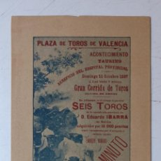 Carteles Toros: PEQUEÑO CARTEL TOROS - VALENCIA - 10 OCTUBRE DE 1897. Lote 60315393