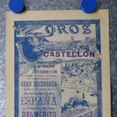 Carteles Toros: CARTEL TOROS - CASTELLON - SEPTIEMBRE DE 1909. Lote 60507754