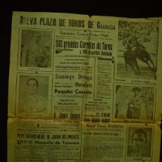 Carteles Toros: CARTEL TOROS GRANADA 1944 CORPUS MANOLETE ORTEGA CASADO BELMONTE BIENVENIDA. Lote 60853195