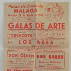 Carteles Toros: CARTEL COMICO-TAURINO PLAZA DE TOROS DE MALAGA 28 DE AGOSTO DE 1960. Lote 61339899