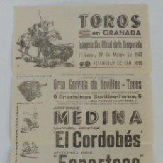 Carteles Toros: CARTEL TOROS EN GRANADA 19 MARZO1962 EL CORDOBES ESPARTACO MEDINA. Lote 61341403
