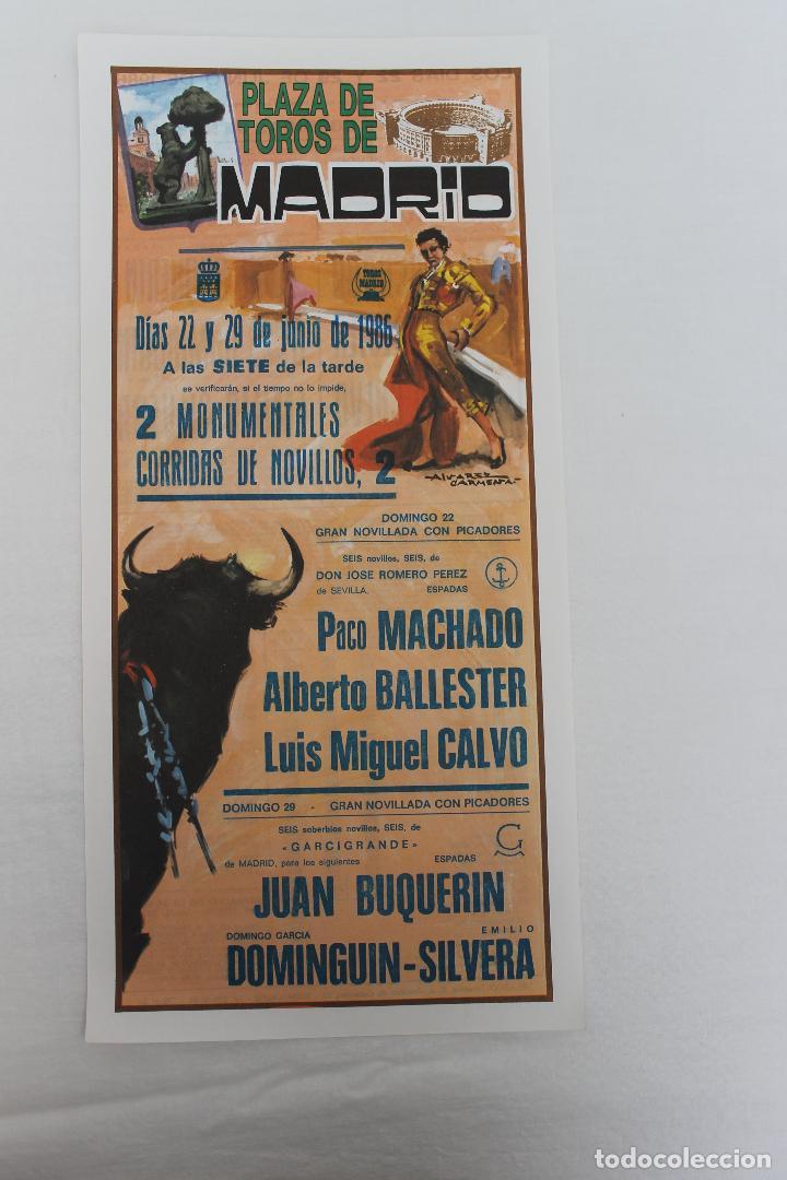 CARTEL PLAZA DE TOROS DE MADRID. 22 Y 29 JUNIO 1986 (Coleccionismo - Carteles Gran Formato - Carteles Toros)