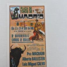 Carteles Toros: CARTEL PLAZA DE TOROS DE MADRID. 22 Y 29 JUNIO 1986. Lote 62045564