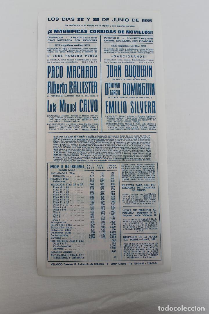 Carteles Toros: CARTEL PLAZA DE TOROS DE MADRID. 22 Y 29 JUNIO 1986 - Foto 2 - 62045564