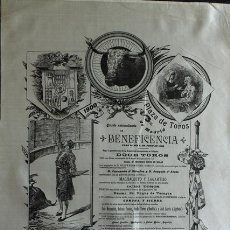 Carteles Toros: CARTEL DE TOROS DE MADRID. 1 DE JUNIO DE 1900. BENEFICENCIA. MACHAQUITO Y LAGARTIJO, MAZZANTINI. Lote 63175392
