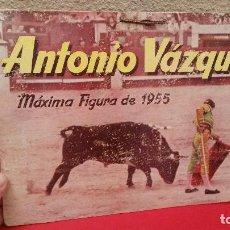 Carteles Toros: CARTEL CARTON TIPO DISPLAY TORERO DE TOROS ANTONIO VAZQUEZ MAXIMA FIGURA DE 1955. Lote 66117298