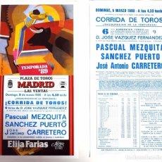 Carteles Toros: CARTEL DE TOROS. PLAZA DE LAS VENTAS MADRID 5 DE MARZO 1989. Lote 66868502