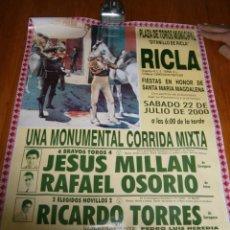Carteles Toros: CARTEL TOROS..PLAZA DE TOROS MUNICIPAL.. RICLA.. Lote 67186485