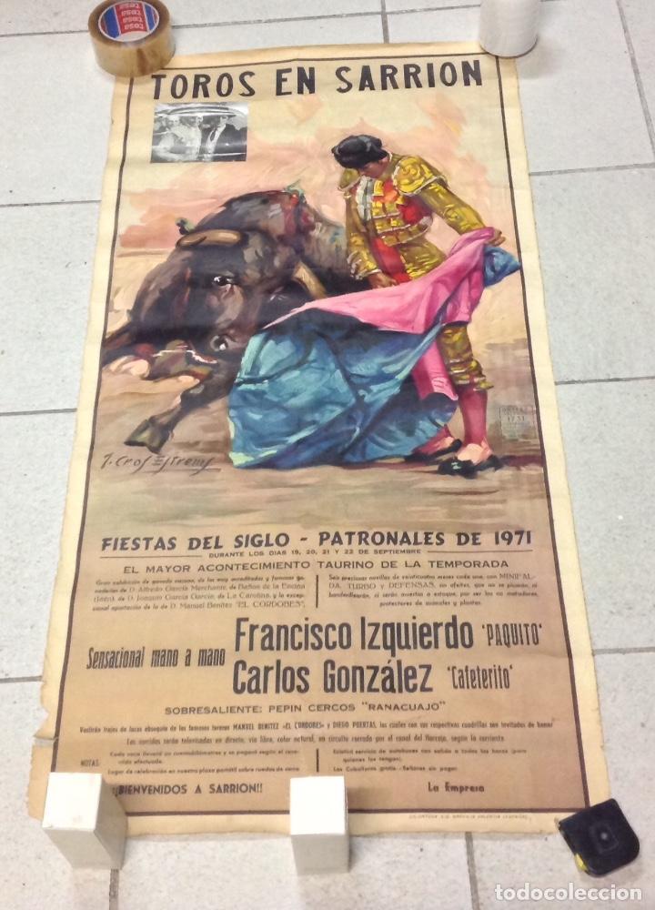 TOROS EN SARRION 1971 CARTEL TAURINO LITOGRAFIA DE JOSE CROS ESTREMS LIT. ORTEGA (Coleccionismo - Carteles Gran Formato - Carteles Toros)
