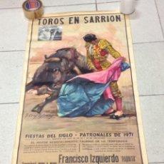 Carteles Toros: TOROS EN SARRION 1971 CARTEL TAURINO LITOGRAFIA DE JOSE CROS ESTREMS LIT. ORTEGA. Lote 69107077