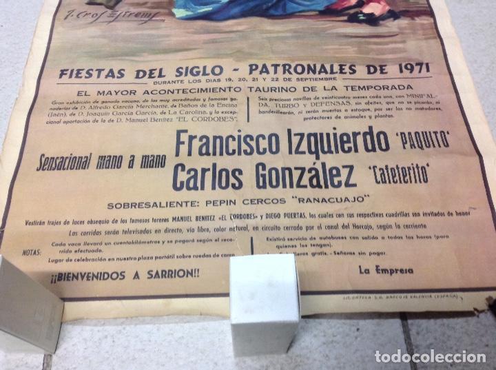 Carteles Toros: TOROS EN SARRION 1971 CARTEL TAURINO LITOGRAFIA DE JOSE CROS ESTREMS LIT. ORTEGA - Foto 5 - 69107077