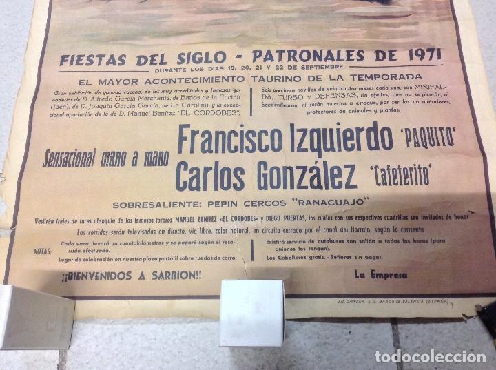 Carteles Toros: TOROS EN SARRION 1971 CARTEL TAURINO LITOGRAFIA DE JOSE CROS ESTREMS LIT. ORTEGA - Foto 8 - 69107077