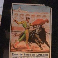 Carteles Toros: CARTEL TOROS FERIA DE LINARES 1947. MUERTE DE MANOLETE. Lote 71760135