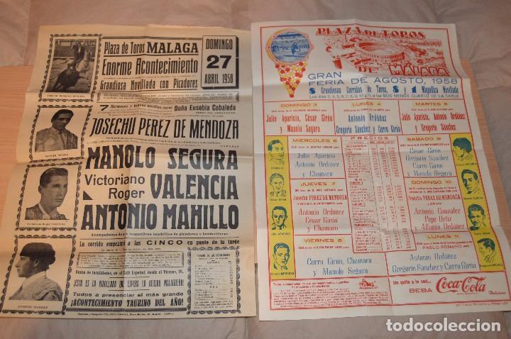 Carteles Toros: GRAN LOTE DE CARTELES DE TOROS - MÁLAGA 1958 - IMPRESIONANTE - MIRA LAS FOTOS - Foto 3 - 75256499