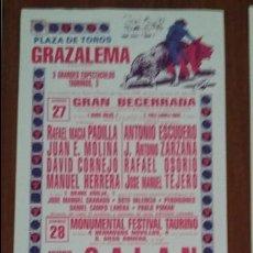 Carteles Toros: CARTEL DE TOROS. GRAZALEMA. A.J. GALÁN. EMILIO OLIVA. ISAAC OLIVA. 27-28 AGOSTO 1988. Lote 76683995