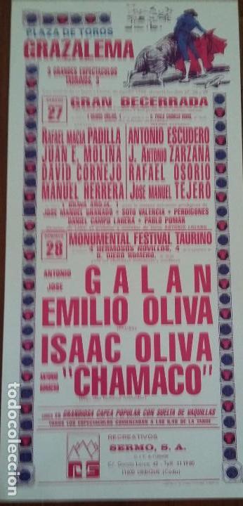 CARTEL DE TOROS. GRAZALEMA. A.J. GALÁN. EMILIO OLIVA. ISAAC OLIVA. 27-28 AGOSTO 1988 (Coleccionismo - Carteles Gran Formato - Carteles Toros)