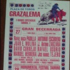 Carteles Toros: CARTEL DE TOROS. GRAZALEMA. A.J. GALÁN. EMILIO OLIVA. ISAAC OLIVA. 27-28 AGOSTO 1988. Lote 76684071