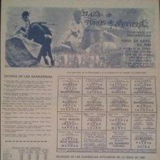 Carteles Toros: CARTEL DE TOROS. SEVILLA. MANILI. CURRO DURÁN. VALENTÍN DURÁN. MANUEL VIDRIE. FERIA DE ABRIL 1982. Lote 76749487