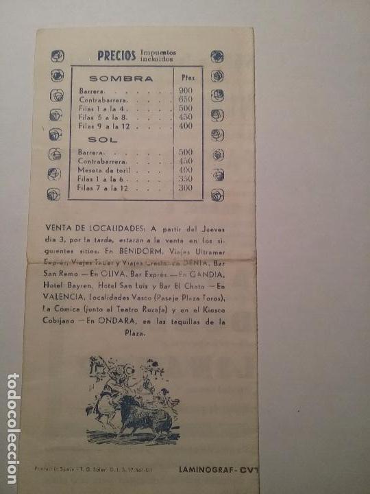 Carteles Toros: Plaza de toros ondara. La joya levantina.6 de Julio 1969. EL CORDOBES. PALOMO LINARES.PACO PASTOR. - Foto 2 - 76808331