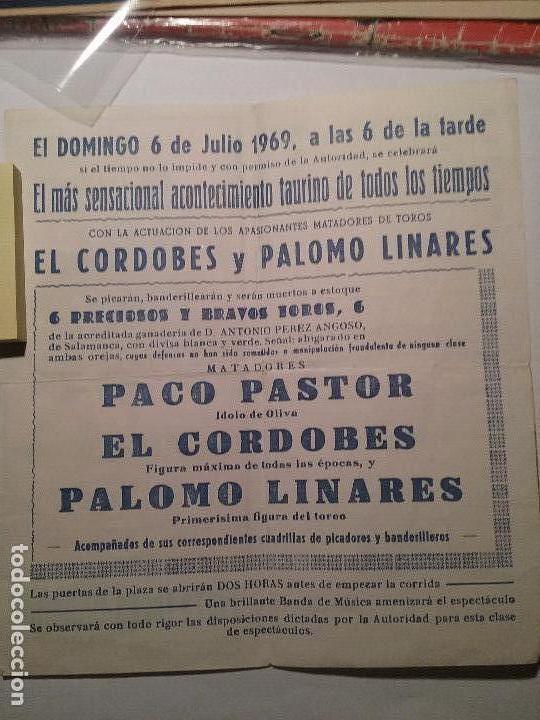 Carteles Toros: Plaza de toros ondara. La joya levantina.6 de Julio 1969. EL CORDOBES. PALOMO LINARES.PACO PASTOR. - Foto 3 - 76808331