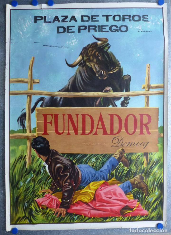 PLAZA DE TOROS DE PRIEGO (CUENCA) - PUBLICIDAD DE FUNDADOR DOMECQ - AÑO 1967 (Coleccionismo - Carteles Gran Formato - Carteles Toros)