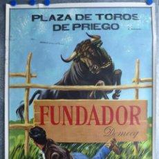 Carteles Toros: PLAZA DE TOROS DE PRIEGO (CUENCA) - PUBLICIDAD DE FUNDADOR DOMECQ - AÑO 1967. Lote 77773889