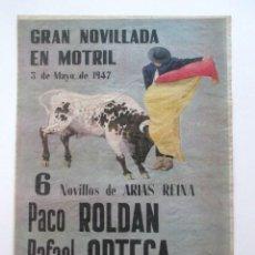 Carteles Toros: CARTEL PLAZA TOROS DE MOTRIL, AÑO 1947. Lote 79668933