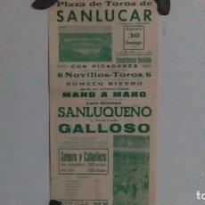 Carteles Toros: CARTEL DE LA PLAZA DE TOROS DE SANLÚCAR AÑO 1970. Lote 79937721