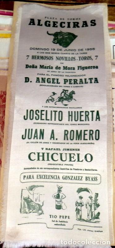 CARTEL DE TOROS, ALGECIRAS, 1955, EN SEDA, JOSELITO HUERTA,ROMERO Y CHICUELO,12X34CMS (Coleccionismo - Carteles Gran Formato - Carteles Toros)