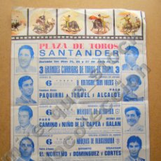 Carteles Toros: CARTEL FERIA TAURINA DE SANTANDER 1975 - 42 X 29 CM. Lote 80284497
