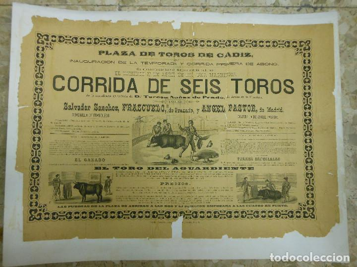 1884 CARTEL DE TOROS DE CADIZ CON FRASCUELO Y ANGEL PASTOR - INAUGURACIÓN DE TEMPORADA (Coleccionismo - Carteles Gran Formato - Carteles Toros)