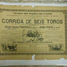 Carteles Toros: 1884 CARTEL DE TOROS DE CADIZ CON FRASCUELO Y ANGEL PASTOR - INAUGURACIÓN DE TEMPORADA. Lote 81425440