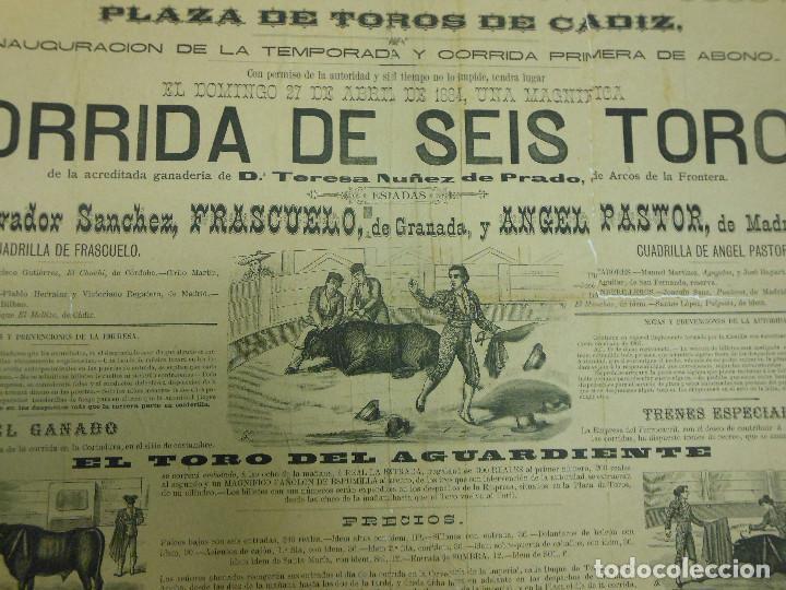 Carteles Toros: 1884 CARTEL DE TOROS DE CADIZ CON FRASCUELO Y ANGEL PASTOR - INAUGURACIÓN DE TEMPORADA - Foto 2 - 81425440