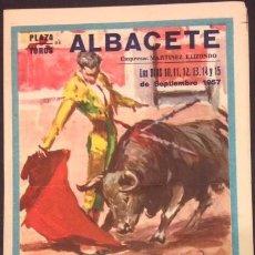 Carteles Toros: PLAZA DE TOROS ALBACETE, SEP. 1957, DOMINGUIN, MONTERO, CHAMACO, ORDOÑEZ, SANCHEZ, LITRI, PERALTA.. Lote 82279756
