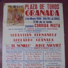 Carteles Toros: CARTEL PLAZA DE TOROS GRANADA. 1986. CORRIDA MIXTA. EL NINILLO, JORGE NARVAEZ,...85,5X61,5CM. LEER. Lote 83357320