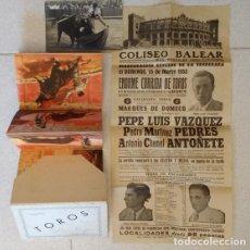 Carteles Toros: LOTE TAURINO: CARTEL CORRIDA EN COLISEO BALEAR 15 MARZO 1953, FOTO AUTÓGRAFO Y CARTERA 9 POSTALES. Lote 84429512