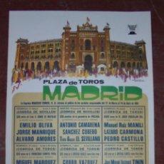 Carteles Toros: CARTEL PLAZA DE TOROS DE MADRID. 1985. NOVILLADAS Y TOROS. 77,5 X 41 CM . LEER. Lote 84631032