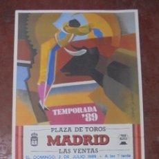 Carteles Toros: CARTEL PLAZA DE TOROS MADRID. TEMPORADA 1989. GRANDIOSA CORRIDA DE TOROS. CORTIJOLIVA. 92X43CM. LEER. Lote 84680444