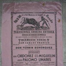 Carteles Toros: CARTEL EN SEDA. PLAZA TOROS RONDA. 1968. 7 HERMOSOS TOROS. D. FERMIN BOHORQUEZ. 55X40,5CM. Lote 85494112