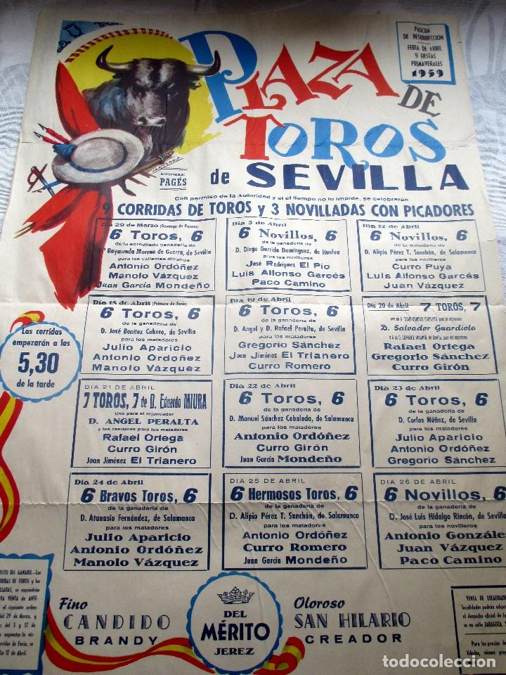 CARTEL ORIGINAL TOROS SEVILLA FERIA ABRIL 1959 (Coleccionismo - Carteles Gran Formato - Carteles Toros)